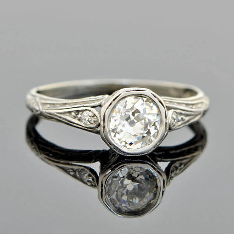 Art Deco Platinum Diamond Engagement Ring 0.70ct