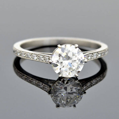 Late Art Deco French Platinum Diamond Engagement Ring 1.02ct