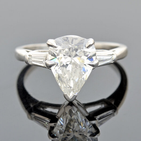 Retro Platinum Pear Cut Diamond Engagement Ring 2.53ct