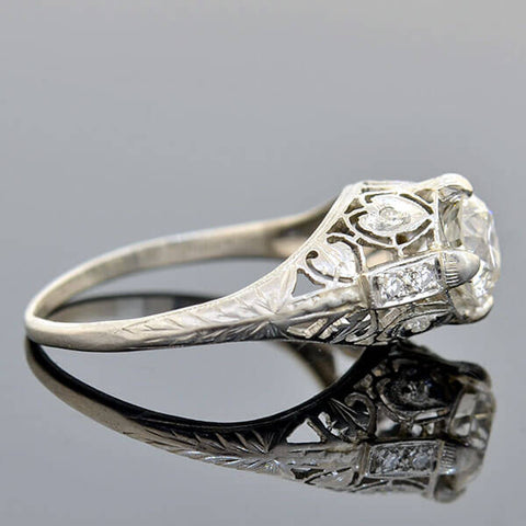 Art Deco Platinum Diamond Heart Motif Filigree Engagement Ring 1.00ct