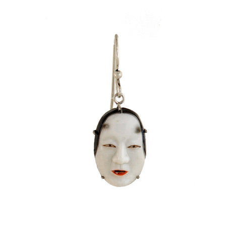 "TOSHIKANE Vintage Japanese Silver Porcelain ""Noh"" Mask Earrings"