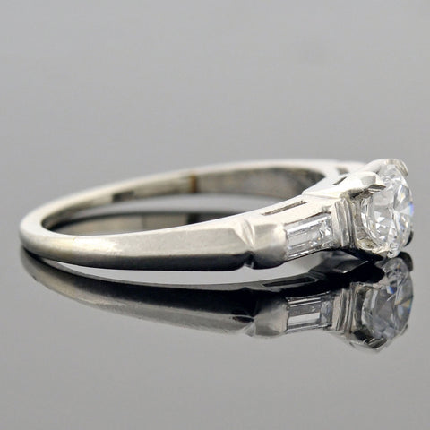 Retro Platinum Diamond Engagement Ring 0.52ct