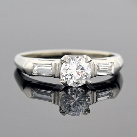 Art Deco Platinum Diamond Engagement Ring 0.58ct