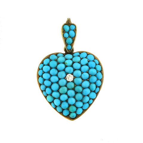 Victorian 9kt Diamond + Pavé Persian Turquoise Heart Locket Pendant