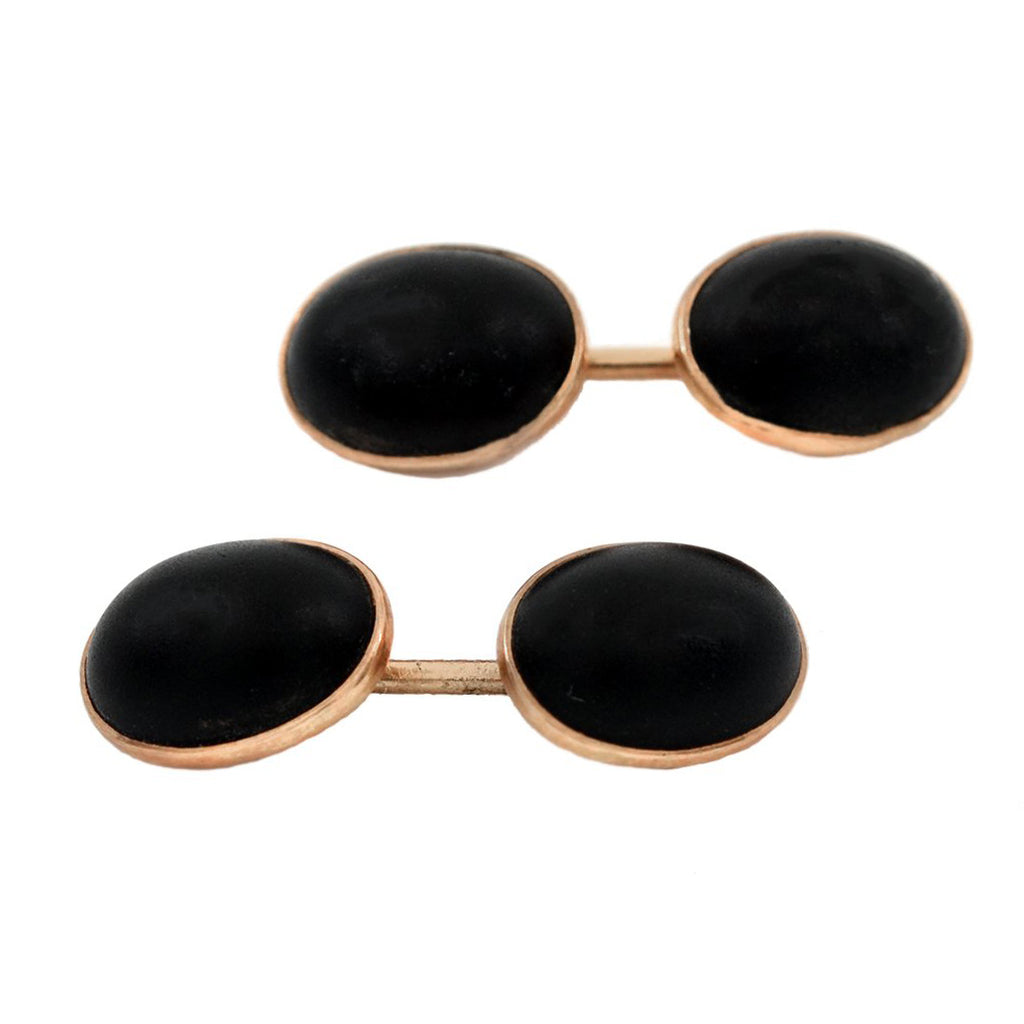 Victorian 14kt Rose Gold Onyx Cufflinks