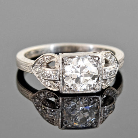 Late Art Deco Platinum Diamond Engagement Ring 0.83ct center
