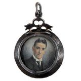 Victorian Sterling French Paste Double-Sided Painted Portrait Locket Pendant