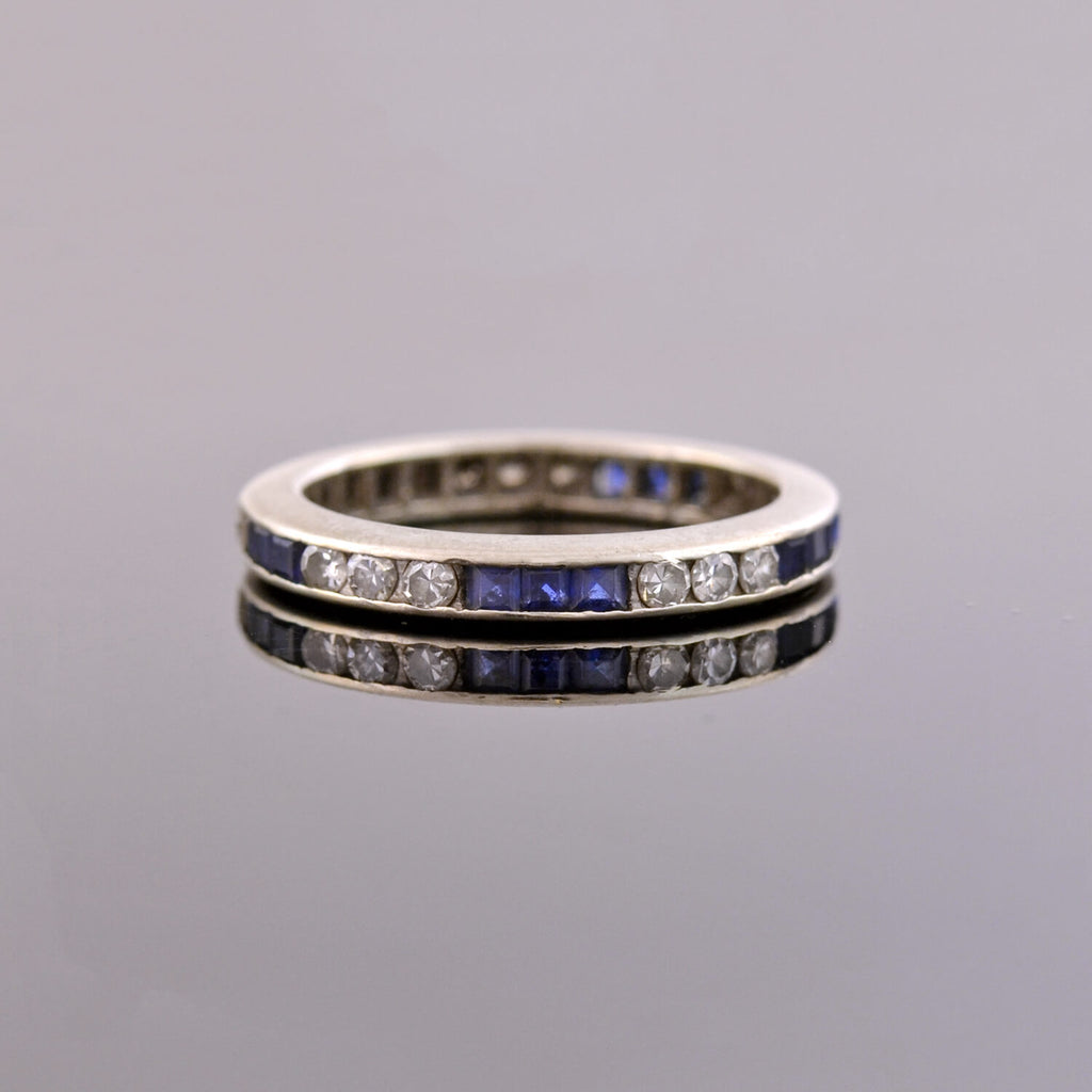 Estate 14kt Sapphire Diamond Eternity Band Ring