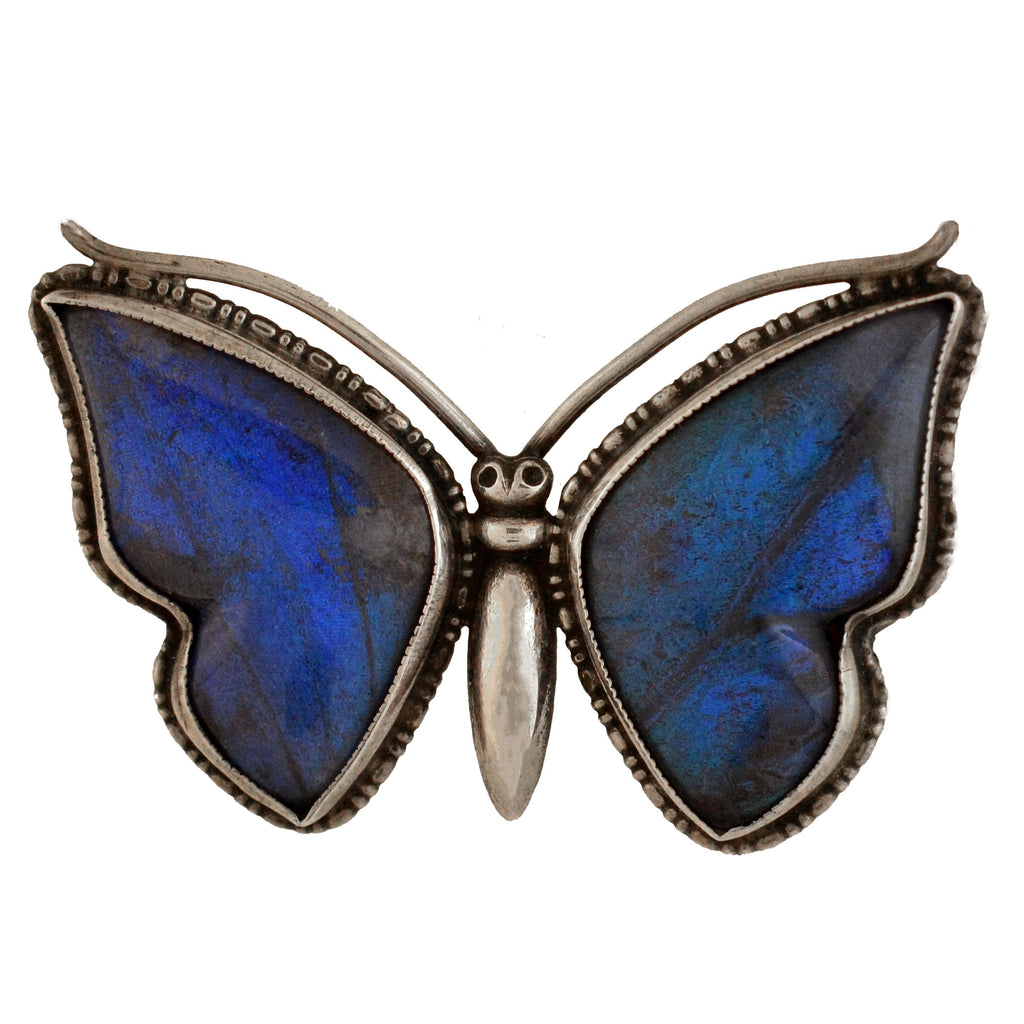 Art Deco Sterling Genuine Butterfly Wing Butterfly Pin