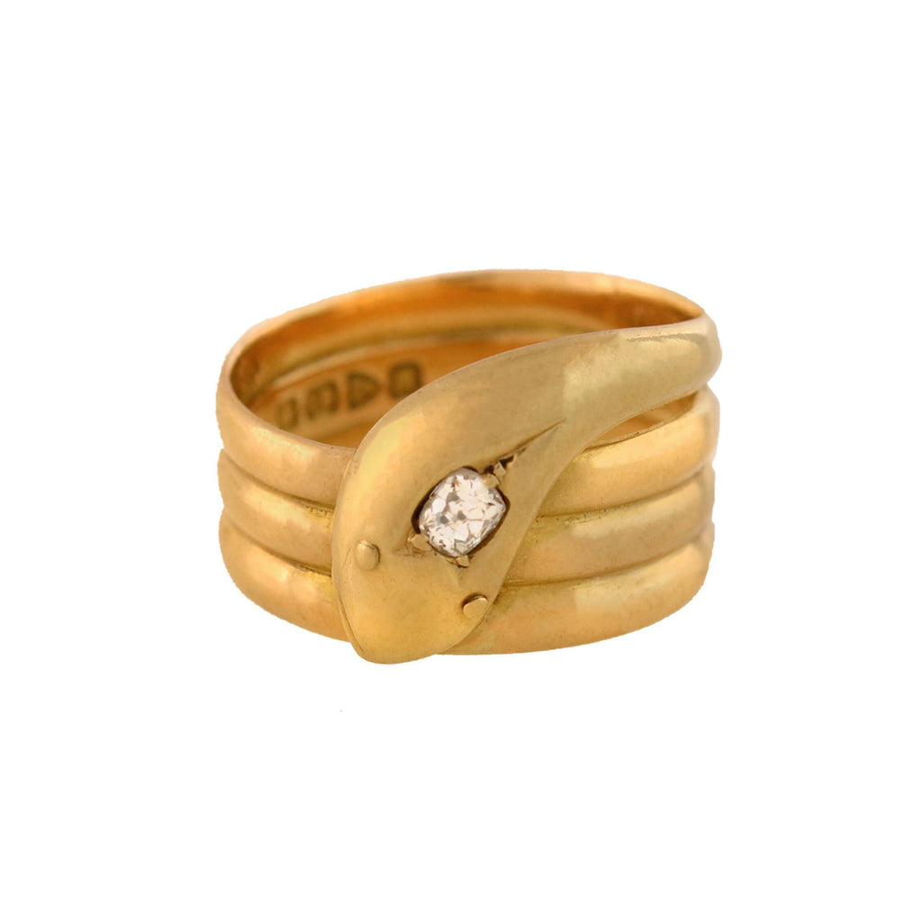 Edwardian 18kt Diamond Wide Coiled Snake Ring