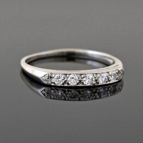 Late Art Deco Platinum Diamond Half Band 0.10ctw