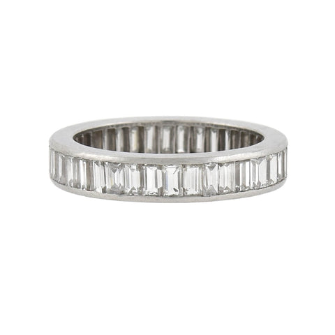Retro Platinum Baguette Cut Diamond Eternity Band with French Hallmark 1.90ctw