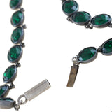 Early Victorian French Sterling Green Foil Back Crystal Link Necklace 16.25