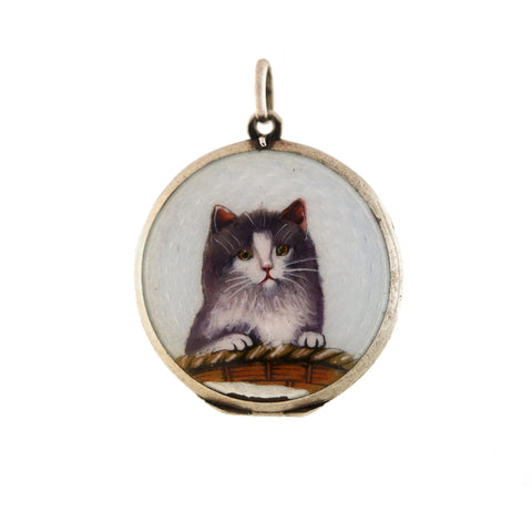 Late Art Deco Sterling Guilloché Enamel + Painted Cat Locket