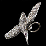 Late Art Deco Platinum Diamond + Ruby Hummingbird Charm