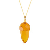 Retro Gold-Plated Sterling + Czech Glass Acorn Necklace 18