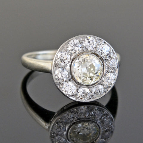 "Edwardian 14kt/Platinum Diamond ""Hat Box"" Cluster Ring 1.30ctw"