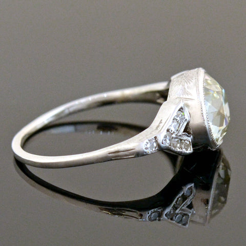 Art Deco Platinum Diamond Engagement Ring 2.17ct center