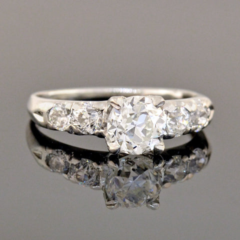 Late Art Deco Platinum Diamond Engagement Ring 1.00ct center