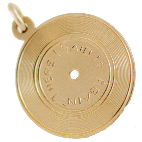 "Vintage 14kt Vinyl Record ""There I Said It Again"" Charm Pendant"