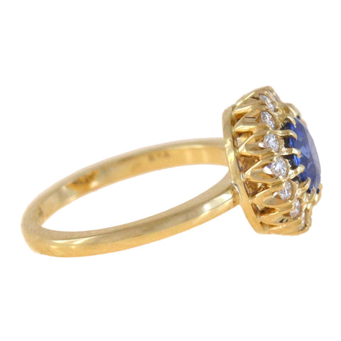 Late Art Deco 18kt Sapphire + Diamond Cluster Ring 1.19ct center