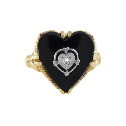 Vintage 14kt Carved Onyx + Diamond Heart Ring