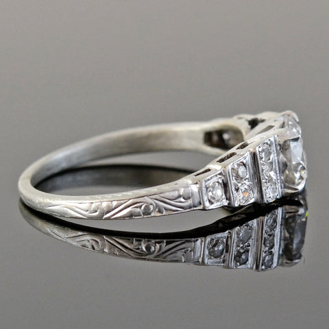 "Art Deco 18kt Diamond ""Step Up"" Engagement Ring 0.68ct"