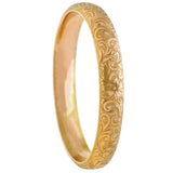 RIKER BROS. Art Nouveau 14kt Etched Floral Bangle Bracelet