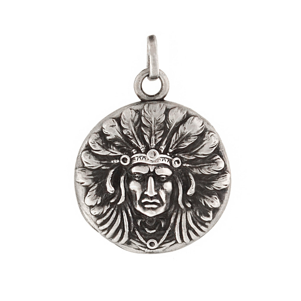 UNGER BROS. Late Victorian Sterling Native American Chief Repousse Locket