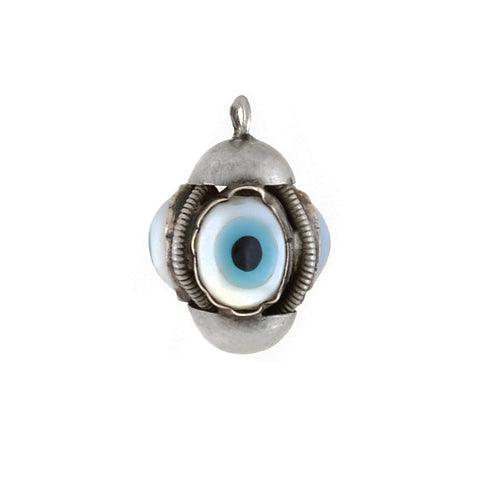 "Vintage Sterling Glass ""Evil Eye"" Triple-Sided Charm Pendant"