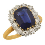Edwardian Platinum/14kt Sapphire + Diamond Cluster Ring 3.00ct center
