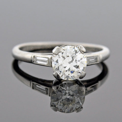 Art Deco Platinum Sapphire & Marquise Diamond Ring 1.00ct