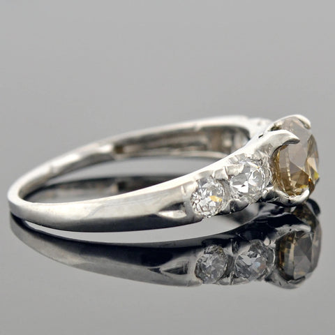 Late Art Deco Platinum Champagne Diamond Engagement Ring 1.09ct center