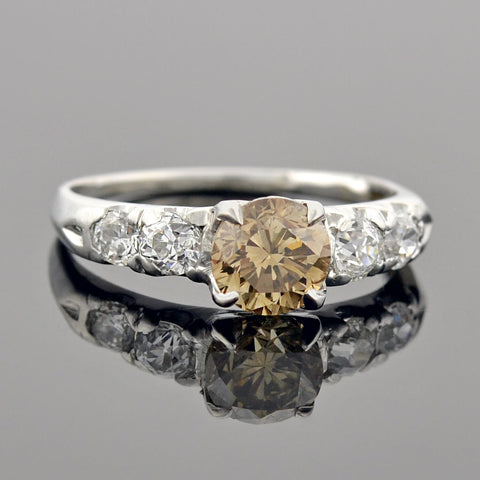 Art Deco Platinum Diamond Engagement Ring .89ct