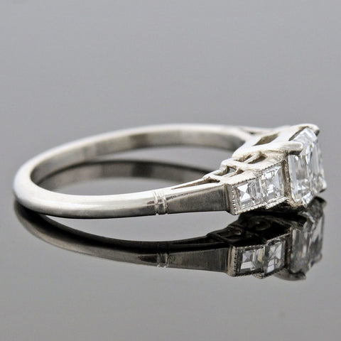 Late Art Deco Platinum Asscher Cut Diamond Engagement Ring 1.03ct