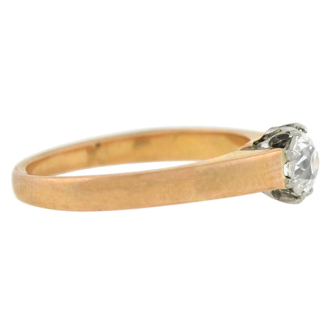 Edwardian French 18kt/Platinum Diamond Solitaire Engagement Ring 0.45ct
