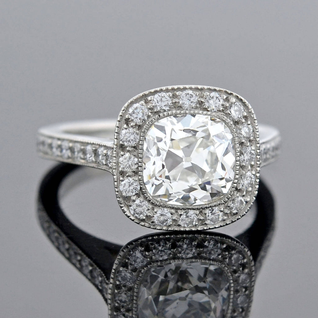 Estate Platinum Cushion Mine Cut Diamond Halo Engagement Ring 1.29ct