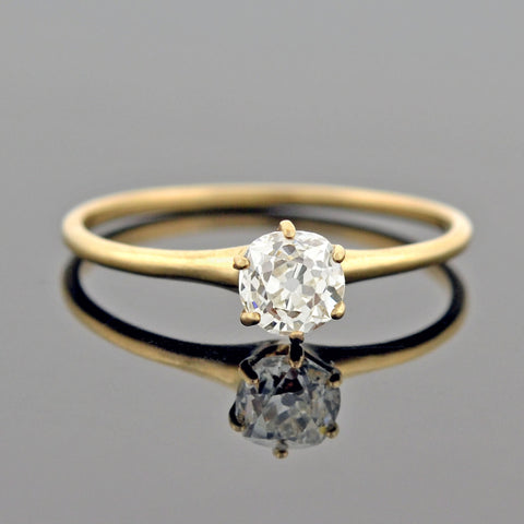"Edwardian Platinum/18kt ""Trilogy"" 3-Stone Diamond Ring"
