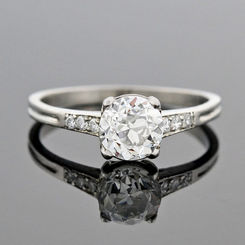 Art Deco Platinum & Diamond Heart Motif Engagement Ring .70ct