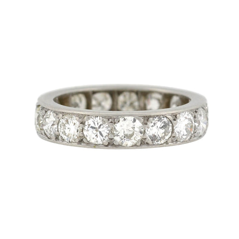 Late Art Deco Platinum Diamond Eternity Band 3.50ctw