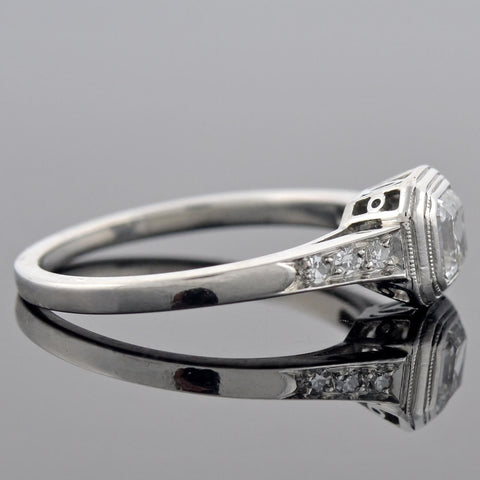 Art Deco Platinum Asscher Cut Diamond Engagement Ring 0.85ct