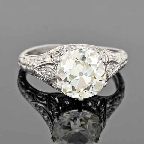 Art Deco Platinum Diamond Engagement Ring 2.69ctw