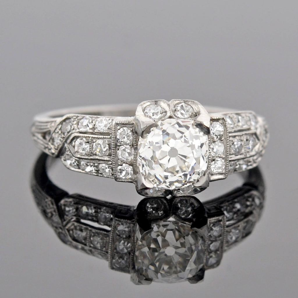 Art Deco Platinum Diamond Engagement Ring 1.05ct center