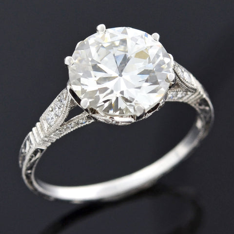 Art Deco 14kt Filigree Diamond Engagement Ring .16ct