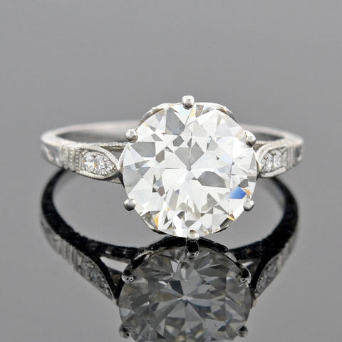 Estate 18kt Art Deco Style Diamond Engagement Ring 3.04ct center