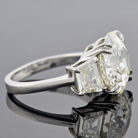 Vintage Platinum Old European Cut Diamond Engagement Ring 6.29ct center