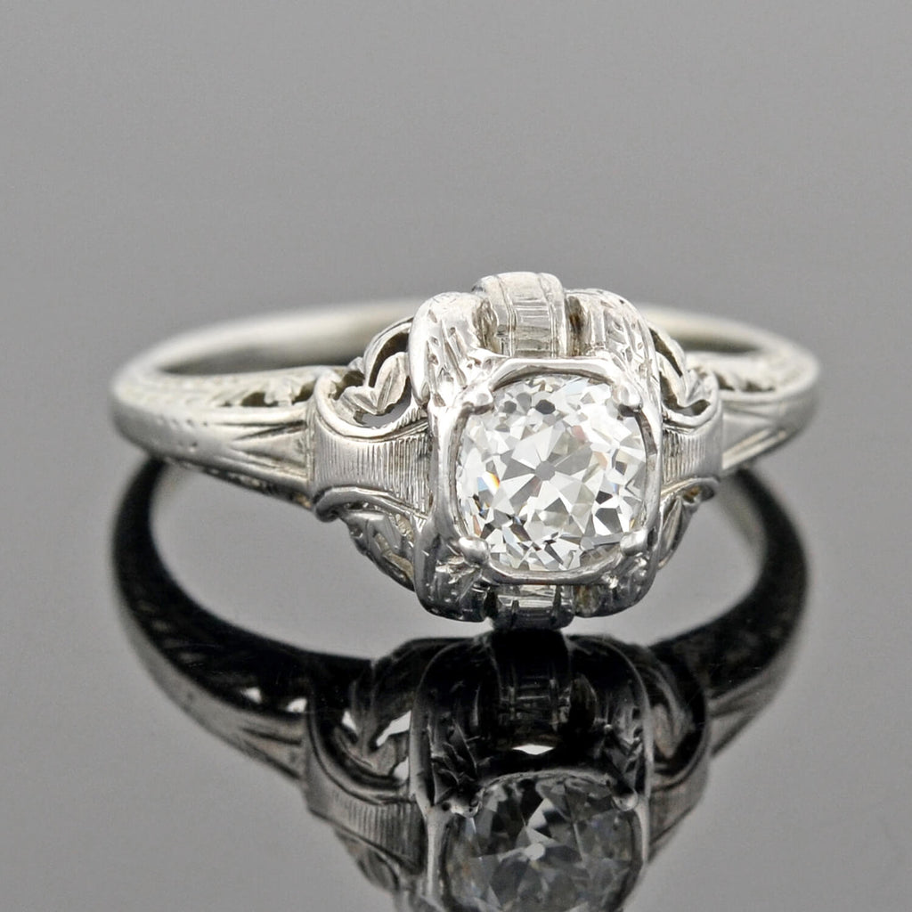 Art Deco 14kt Diamond Filigree Engagement Ring 0.60ct