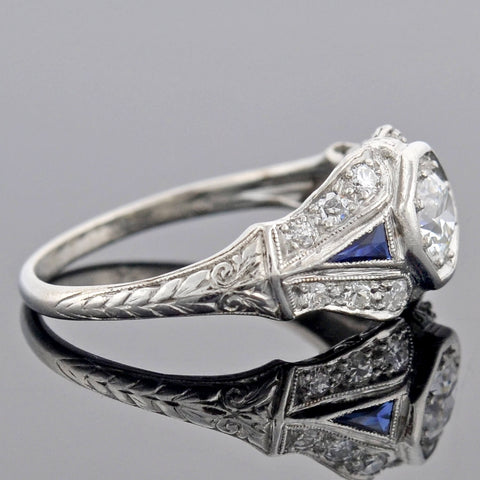 Art Deco Platinum Diamond Sapphire Engagement Ring 0.45ct