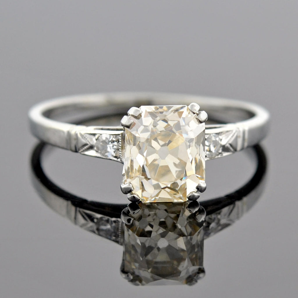 Edwardian Fancy Yellow Diamond Engagement Ring 2.01 center