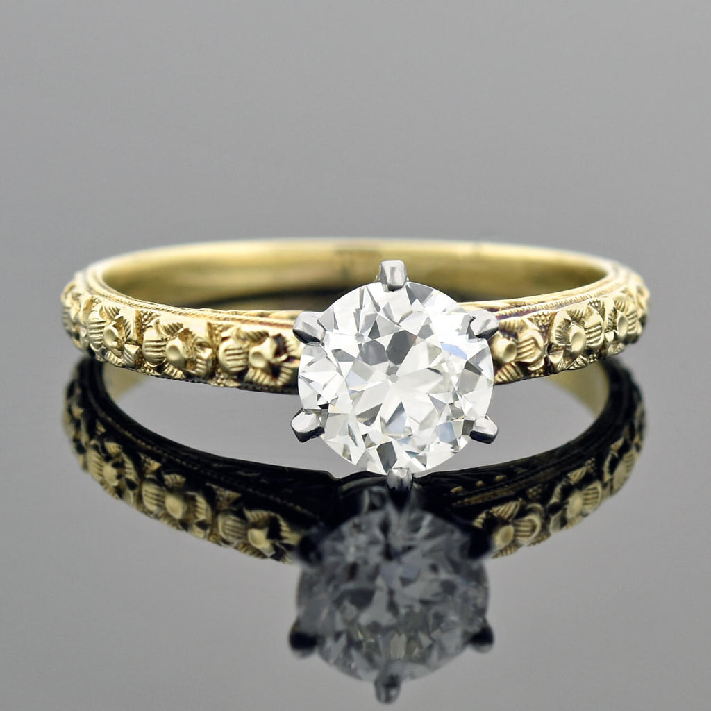 Edwardian Style 14kt/18kt Mixed Metals Diamond Engagement Ring 0.77ct